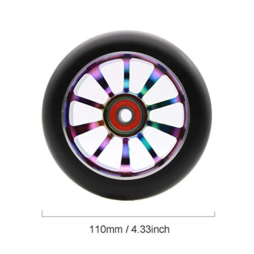 Z-FIRST 1PCS 110mm Pro Stunt Scooter Wheel with ABEC 9 Bearings for MGP/Razor/Lucky/Envy/Vokul Scooter Replacement Wheels (Rainbow)
