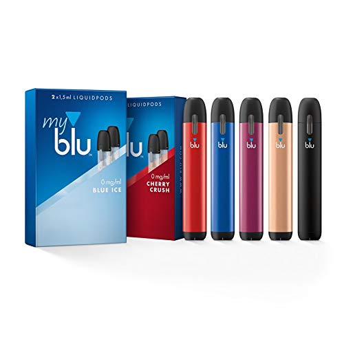 Starter Set mit 2 x E-Zigarette Vape Device myblu schwarz und farbig + Farbwechsel für Vape Device + 2 Doppelsets…