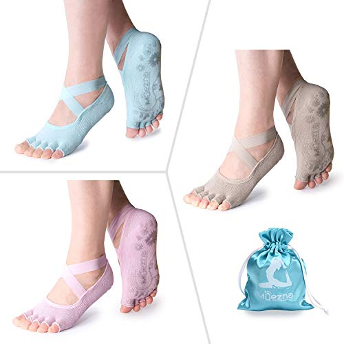 Muezna Non Slip Yoga Socks for Women, Toeless Anti-Skid Pilates, Barre, Ballet, Bikram Workout Socks with Grips (3 Pairs-Pink Light Camel Mint Blue, Small (Women 4.5-8))