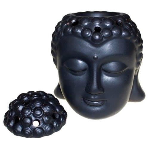 Funky Gadget Store Oriental Black Thai Buddha Oil Burner Ornament Buddah Statue Figure Bust Head