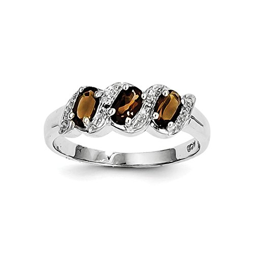 ICE CARATS 925 Sterling Silver Smoky Quartz Diamond Band Ring Size 8.00 Stone Gemstone Fine Jewelry Ideal Mothers Day Gifts For Mom Women Gift Set From Heart (Designer White Diamond Ring Gold)