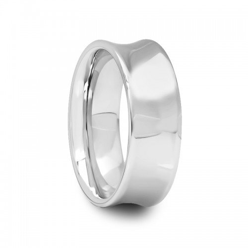 Concave Tungsten Carbide Band Ring - 8 mm Mens Tungsten Carbide Rings Wedding Bands Concave Polished Finish