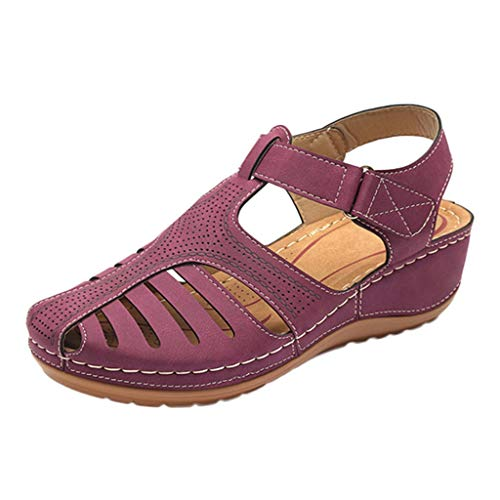 JJLIKER Women's Closed Toe Cutout Sandals Flats Soft Comfort Casual Low Wedge Shoes Walking Driving Fashion Wild Outdoor