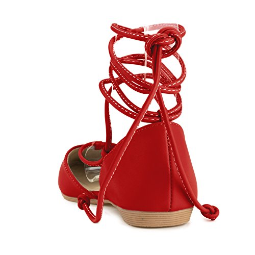 Closed D'Orsay Flat Strap ROOM Wrap Around Red RF Toe Ankle Vegan Ballet Shoes FASHION Toe Flats Pointed OF Leather Vegan OfFY4