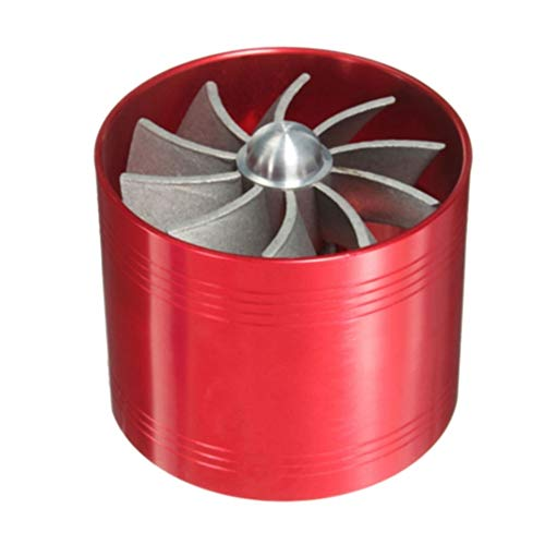 JenNiFer Universal Single Supercharger Turbine Turbocharger Air Intake Fan Fuel Gas Saver - Red: