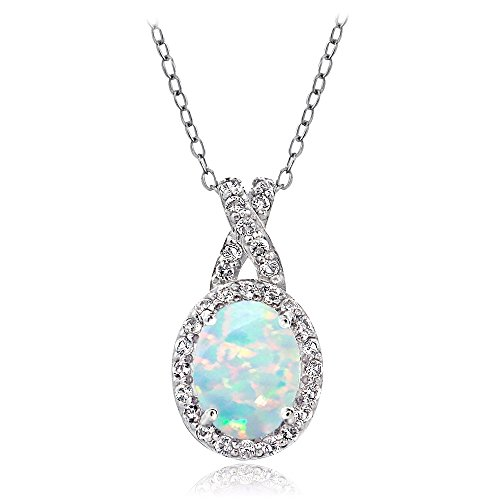 GemStar USA Sterling Silver Simulated White Opal & White Topaz X and Oval Design Pendant Necklace for Women ()