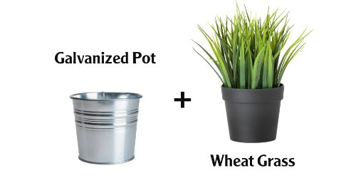Ikea Artificial Potted Plant Wheat Grass 9'' Lifelike Nature Houseplant Decoration Fejka- With Metal Pot! by Ikea