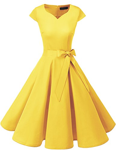 DRESSTELLS Retro 1950s Cocktail Dresses Vintage Swing Dress with Cap-Sleeves Yelllow XS