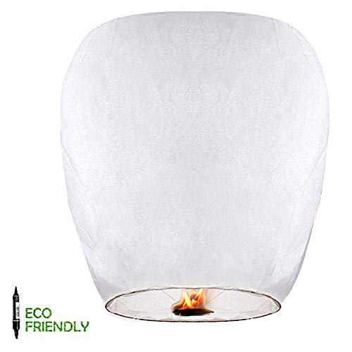 Chinese Lanterns & Sky Lanterns (5 Pack) + Marker Pen ECO Friendly 100% Biodegradable - Beautiful Lantern for White for Weddings, Birthdays, Memorials and Much More by Smeiker