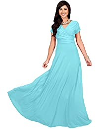 Womens Long Sexy Cap Short Sleeve V-neck Flowy Cocktail Gown Maxi Dress