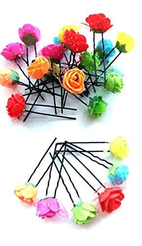 Multi Colour 24 Pcs 7cm Long Bridal Wedding Hair Pins Rose Flower Hair Pin Black Metal DIY Hair Bun Pin for Woman -Bobby Pins U Shape Hair Pins for Women Girls and Hairdressing