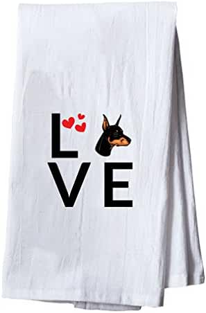 DOBERMAN PINSCHER DOG Love Hearts Dish Flour Sack Kitchen Towel