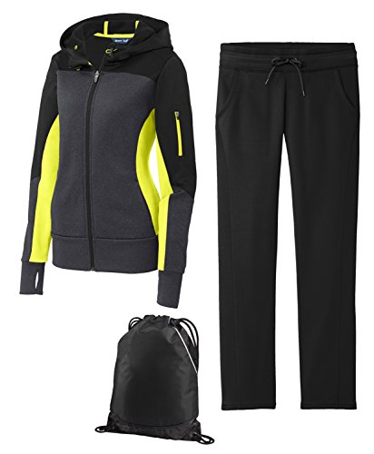Sport Tek Women's Premium Sportswear Tech Fleece Bundle, 4XL, Citron/Black