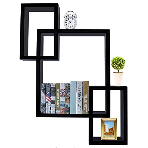 MulYeeh Floating Shelf Square Interlocking Cubes Shelving Solution Intersecting Decorative Wall Shelf Set of 3 Decorative Wall Shelves Hanging Display for Photo Frames