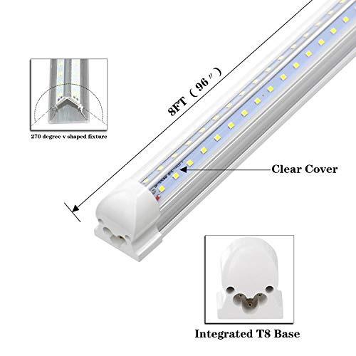 8FT LED Shop Light Fixture - 72W 7200LM, 6000K Cool White, Dual Row V Shape, T8 Integrated Tube Strip Cooler Lights, Clear Cover, Linkable, High Output Bulbs for Garage, Workshop, AC100-305V (12Pack) by YKUNLED (Image #2)