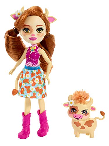 Enchantimals Cailey Cow y Curdle, muñeca con mascota (Mattel FXM77)