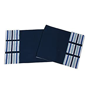 Bacati Little Sailor Changing Table Storage Runner, Blue Stripes
