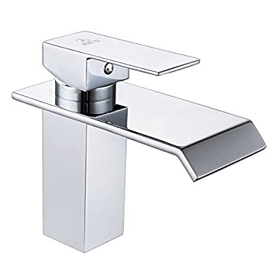 KES L3180 Single Handle Waterfall Bathroom Vanity Sink Faucet with Extra Large Rectangular Spout