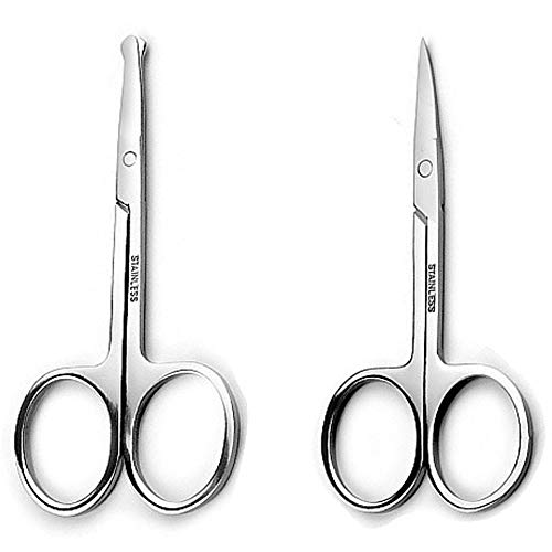 Precision Safety Trimming Scissors For Men – Moustache, Nose Hair & Beard Trimming Scissors, And Ear Hair,Safety Use For Woman Eyebrows,Eyelashes,- Professional Stainless Steel Scissors Set