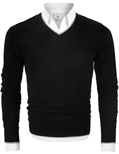 MOCOTONO Men's V Neck Pullover Sweater Long Sleeve Cotton Casual Sweat Dress,Black,Large