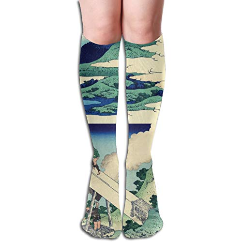 Women's Fancy Design Stocking Views of Mt Fuji (Colorful Patterned Knee High Socks 50CM(19.6Inchs)