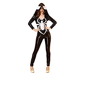 - 41X9gaB8SyL - WELVT Women's Arachnid Babe PU Leather Spider Catsuit Hooded Romper Costume