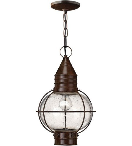 (Outdoor Pendant 1 Light with Sienna Bronze Clear Seedy Solid Brass Medium Base 11 inch 100 Watts)