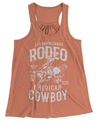 Shirts By Sarah Women's Rodeo Tank Top American Cowbow Western Tanks (Sunset Large)
