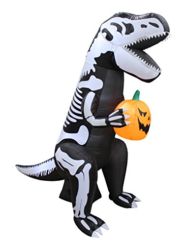 BZB Goods 6 Foot Tall Halloween Inflatable Skeleton Dinosaur Tyrannosaurus T-Rex with Pumpkin Lights Lighted Blowup Party Decoration for Outdoor Indoor Home Garden Family Prop Yard for $<!--$84.95-->