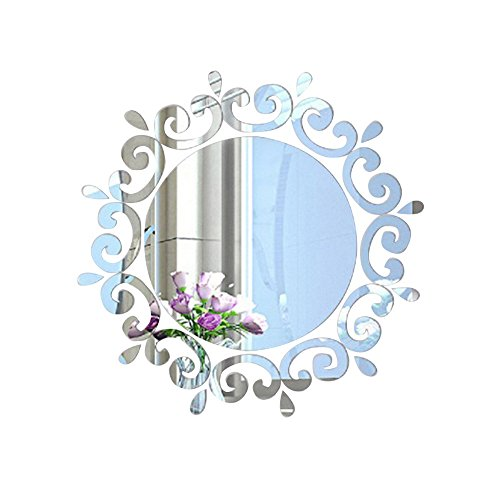 Hexawata Acrylic 3D Mirror Flower Wall Stickers Art Wall Decoration for Home Dorm Living Room...