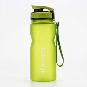 ZCForest Sports Bottles 20oz/600ml High Capacity Water Bottle,Tritan and BPA-Free Cups with Leakproof Wide Mouth Filter (Green)