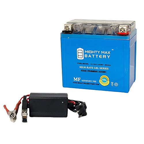 Mighty Max Battery YTX5L-BS Gel Replaces for Keeway Hurricane 50 07-08 + 12V 1Amp Chargr Brand Product ()