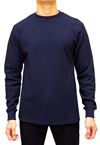 Access Men's Heavyweight Long Sleeve Thermal Crew Neck Top Navy Large (Shirt Thermal Blue)