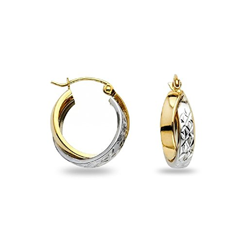 Double Hoop Earrings 14k Yellow White Gold Diamond Cut Round Polished Genuine Two Tone 12 x 7 mm (White Gold Hoop Double)