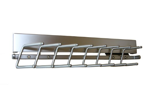 Sliding Tie Rack Steel, Chrome, 14""