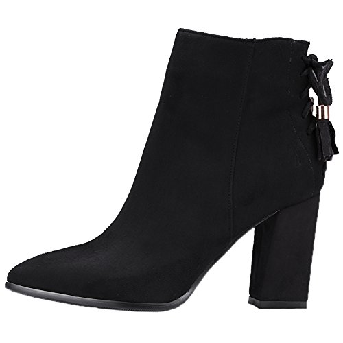Boots Royou Suede Yiuoer Heel Ankle Boots Chunky Black Lace Women Tassel High Up rAnSnt