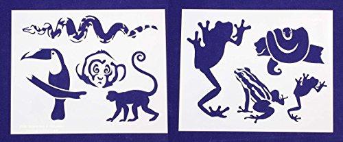 Jungle Animals Stencils - 2 Piece Set - 8 X 10 Inches