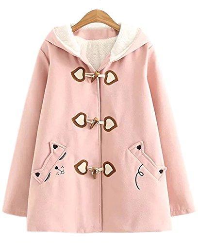 Girls Cute Horn Button Fleece Pea Coat Cat Ear Hooded Outwear Jacket (Pink, Small)