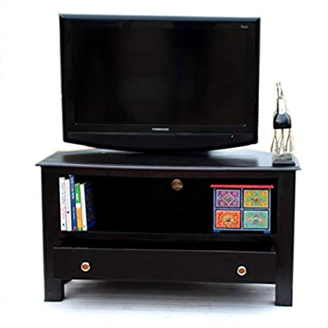 MODISH Perfect Homes TV Unit D Cabinet Black Colour Imperial Solid Wood Furniture