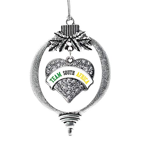 Inspired Silver - Team South Africa Charm Ornament - Silver Pave Heart Charm Holiday Ornaments with Cubic Zirconia Jewelry