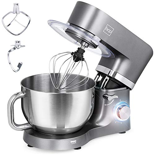 Best Choice Products 6.3qt 660W 6-Speed Multifunctional Tilt-Head Stainless Steel Kitchen Stand Mixer w/ 3 Mixing Attachments, Scraper Spatula, Splash Guard - Gray
