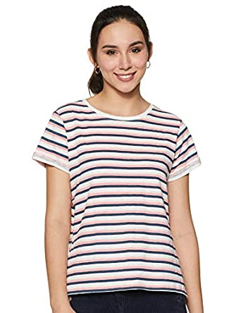 ABOF Women's Striped Regular Fit T-Shirt
