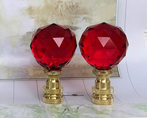 2 of 26% Lead Glass Crystal Red Lamp Shade Finials 30mm by Blessing Light