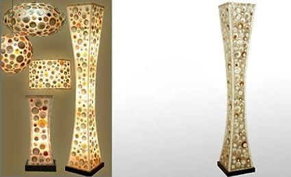 Exclusivas camacho - Lampara de pie fibra/nacar 150x25x25 cm ...