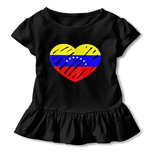 Love Venezuela Flag Heart - Love Venezuela Flag Heart Toddler Baby Girls Dress Cozy Ruffles T-Shirt Short-Sleeved for 2-6T Black