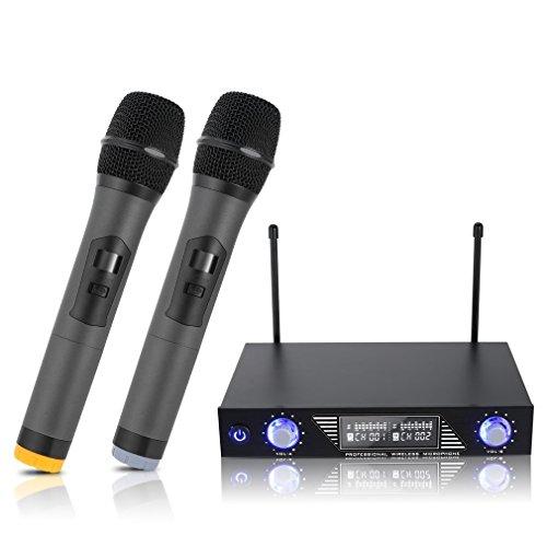 Wireless Microphone Karaoke,LESHP 2 Handheld Karaoke Player Speaker LCD...