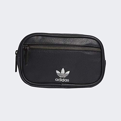 adidas Originals Unisex PU Leather Waist Pack, Black/Silver, ONE SIZE