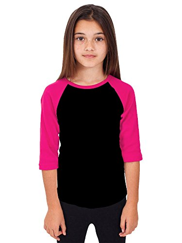 (Hat and Beyond RD Kids 3/4 Raglan Sleeves T Shirt Child Youth Slim Fit T Shirts (Small (4-5 Year), Black/Pink))