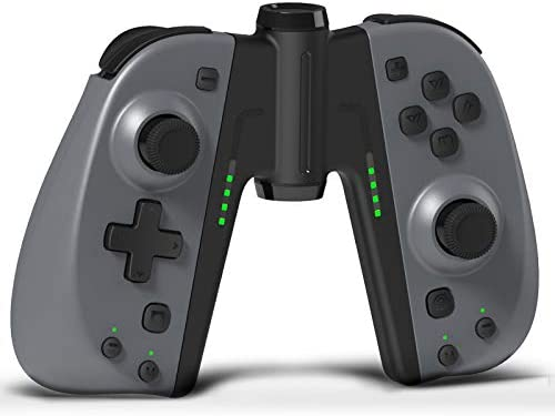 KINVOCA C25 Joypad for Nintendo Switch/Lite - Wired/Wireless Switch Controller - Replacement for Joycon - Programmable Macros, Turbo, Motion Control & Dual Shock (Gray w/Grip)