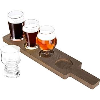 Amazoncom Libbey Craft Brews Beer Flight Glass Set With Wood